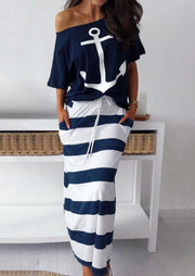 Anchor Blouse + Striped Long Skirt Outfit without Necklace - Navy Blue