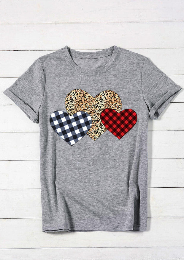 Buffalo Plaid Leopard Prints Hearts T-Shirt Tee for Valentine - Gray