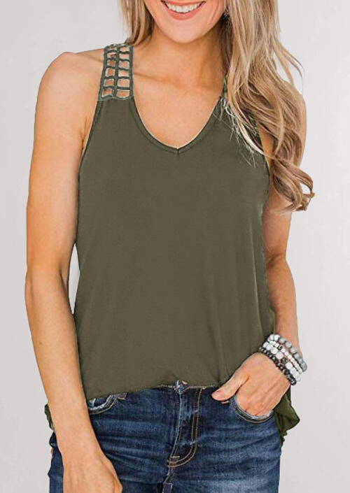 Hollow Out V-Neck Casual Tank - Army Green