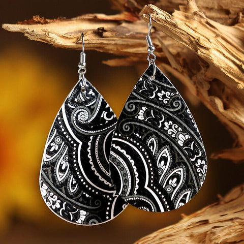 Mandala Printed PU Leather Earrings