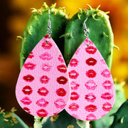 Valentine Lips Printed PU Leather Earrings