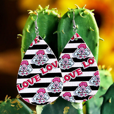 Valentine Marry Me Love PU Leather Earrings