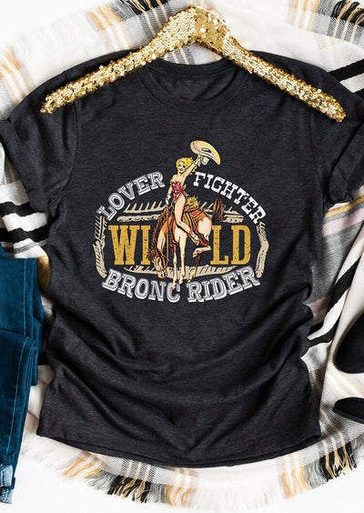 Lover Fighter Wild Bronc Rider T-Shirt Tee - Dark Grey