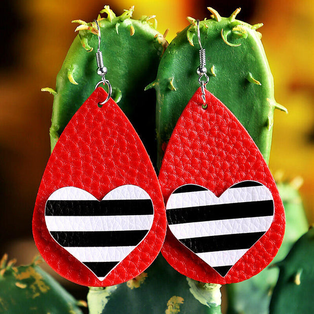 Plaid Striped Love Heart PU Leather Earrings