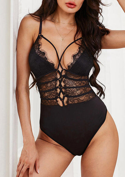 Lace Splicing Criss-Cross Sexy Lingerie without Necklace - Black