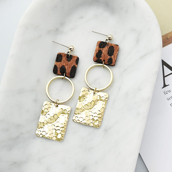Leopard Printed Splicing Sequined Earrings