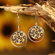 Hollow Out Leopard Printed Round Earrings