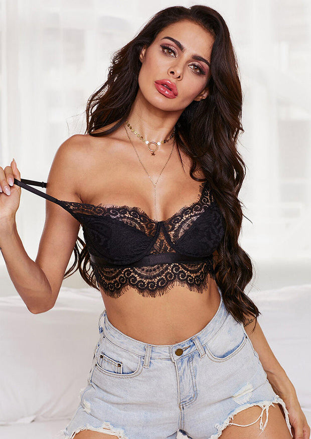 Lace Splicing Sexy Bra without Necklace - Black