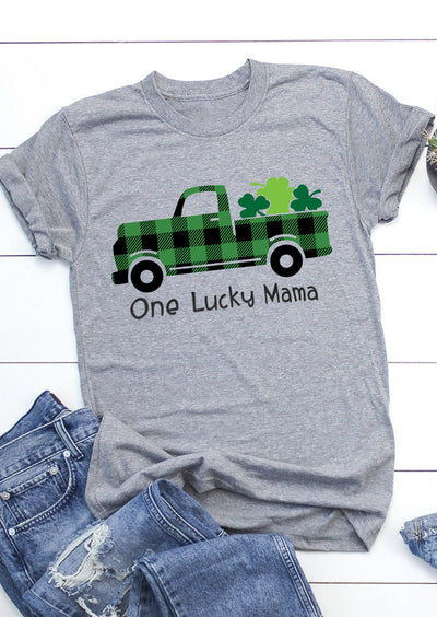 St. Patrick's Day One Lucky Mama Shamrock T-Shirt Tee - Gray