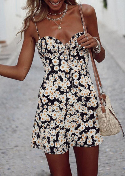 Floral Open Back Spaghetti Strap Mini Dress without Necklace - Black