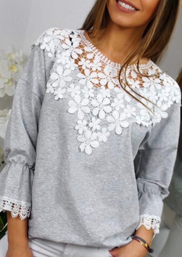 Lace Splicing Flare Sleeve Blouse - Light Grey