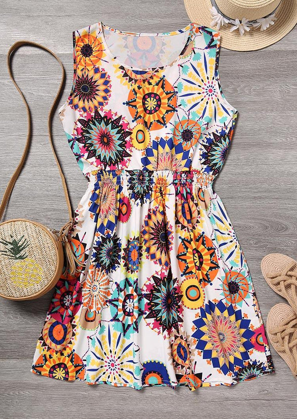 Mandala Printed Ruffled Mini Dress - Multicolor