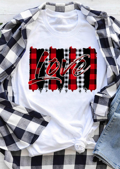 Love Plaid Printed Splicing T-Shirt Tee - White