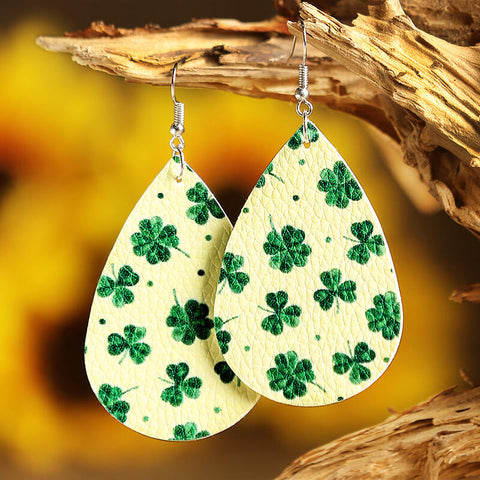 St. Patrick's Day Lucky Shamrock PU Leather Earrings - Light Yellow