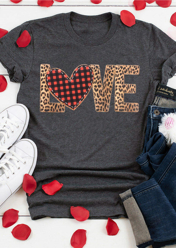 Valentine Plaid Leopard Printed Love Heart T-Shirt Tee - Gray