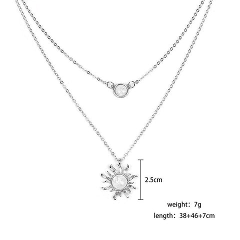 Sunflower Rhinestone Dual-Layered Necklace
