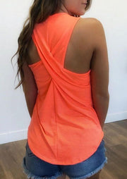 Criss-Cross Ruffled Tank - Orange
