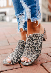 Presale - Summer Ruffled Leopard Printed Slip-On Sandals
