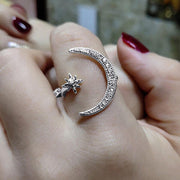 Women's Rhinestone Star Moon Ring