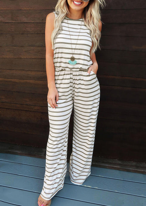 Striped Printed Pocket Jumpsuit without Necklace