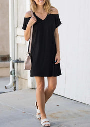 Solid Cold Shoulder Mini Dress without Necklace - Black