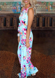 Floral Jumpsuit without Necklace - Light Blue