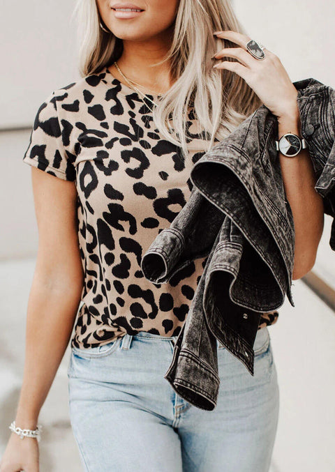 Leopard Printed O-Neck T-Shirt Tee without Necklace