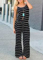 Presale - Striped Pocket Drawstring Jumpsuit without Necklace