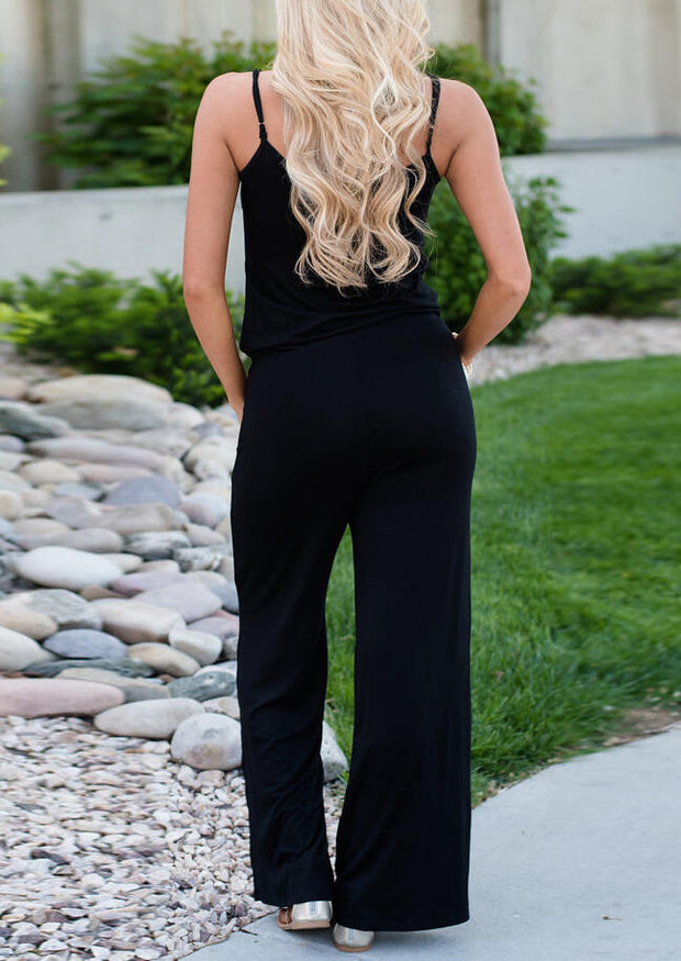 Presale - Drawstring Pocket Spaghetti Strap Jumpsuit without Necklace - Black