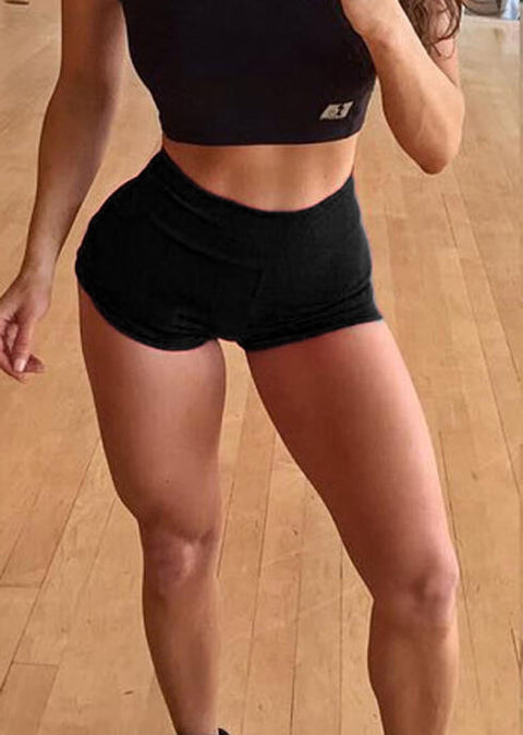 Ruffled Yoga Fitness Activewear Shorts - Black