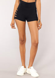 Hollow Out Yoga Fitness Activewear Sports Shorts - Black