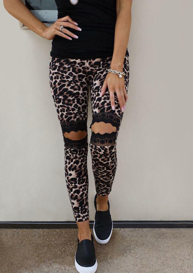 Hollow Out Lace Splicing Skinny Leggings - Black