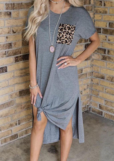Leopard Printed Pocket Slit Casual Dress without Necklace - Gray