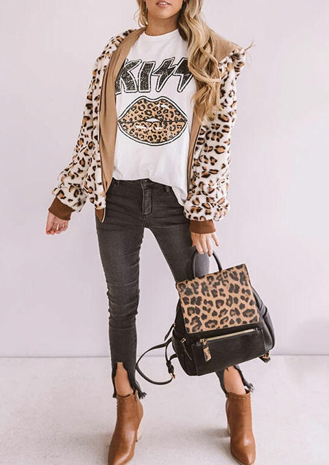 Leopard Kiss Lips T-Shirt Tee - White