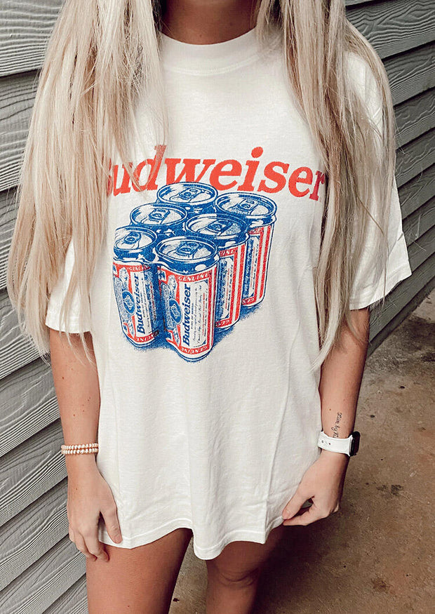 Presale - Budweiser O-Neck Mini Dress - White
