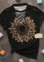 Leopard Sunflower Criss-Cross Hollow Out  T-Shirt Tee - Black