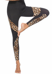 Leopard Printed Splicing Fitness Yoga Activewear Leggings - Black