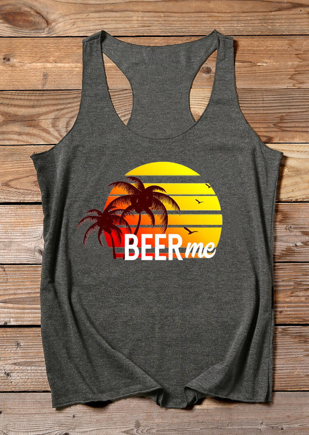 Beer Me O-Neck Casual Tank - Dark Grey