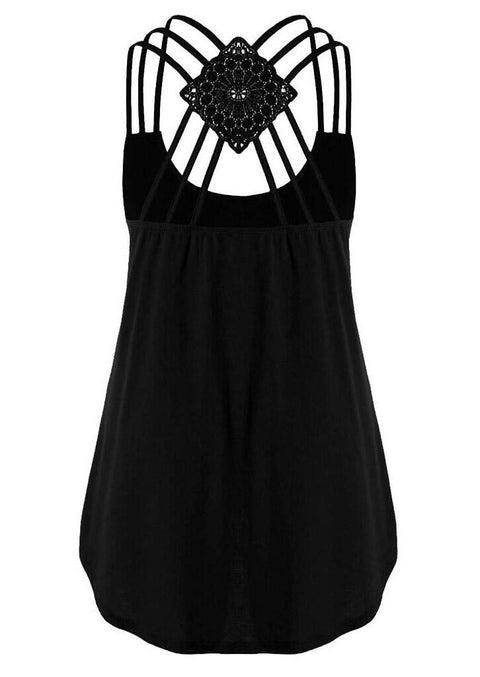 Sunflower Criss-Cross Hollow Out Tank - Black