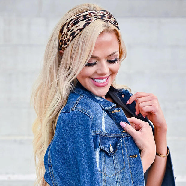 Criss-Cross Leopard Printed Wrap Wide Headband