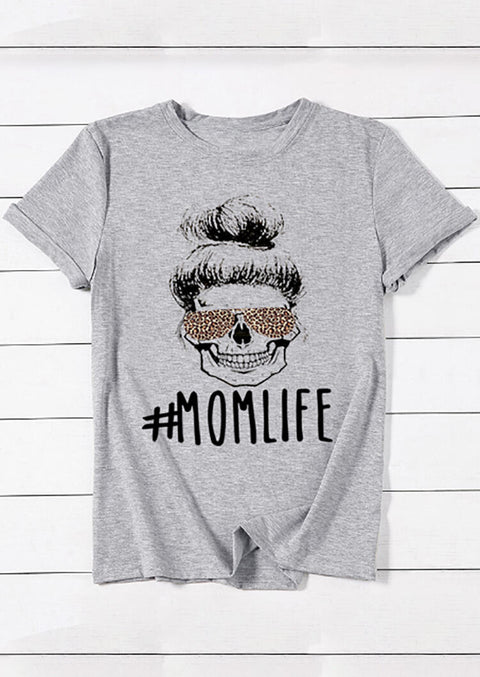 Mom Life Leopard T-Shirt Tee - Gray