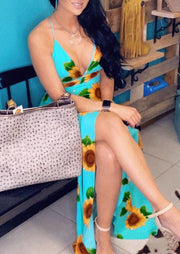 Presale - Sunflower Open Back Maxi Dress without Necklace - Cyan