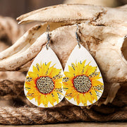 Sunflower Leopard Leather Earrings