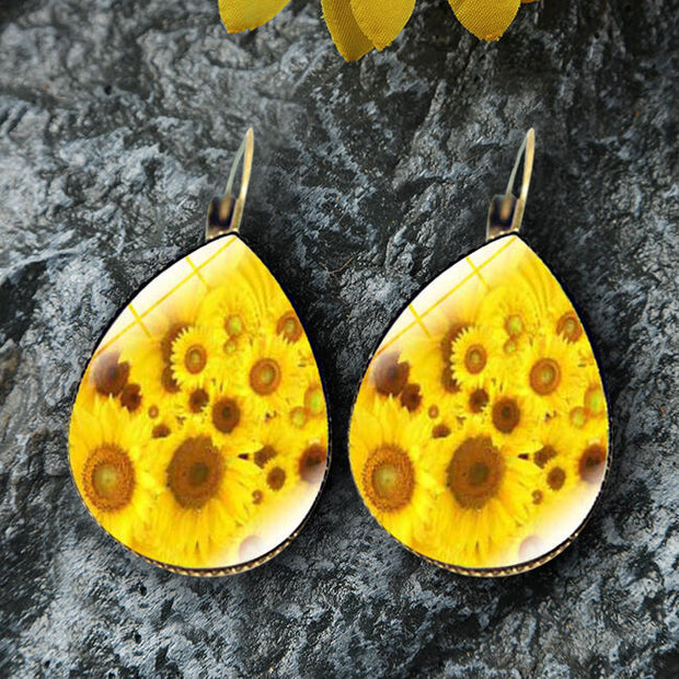 Presale - Sunflower Water Drop Shaped Earrings