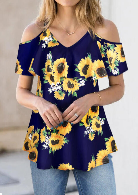 Sunflower Cold Shoulder T-Shirt Tee without Necklace - Navy Blue