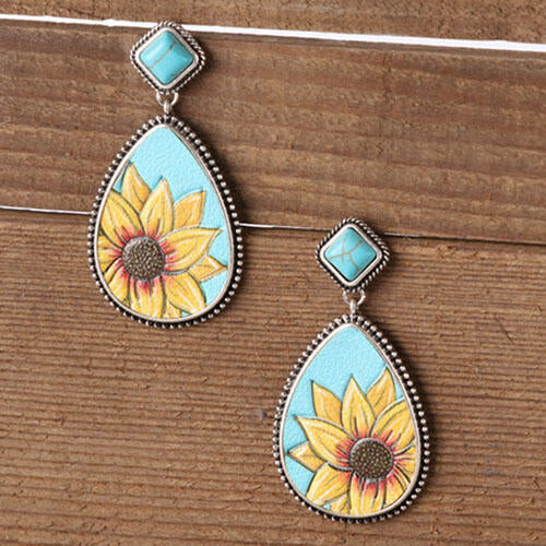 Presale - Sunflower Turquoise Water Drop Shaped Earrings
