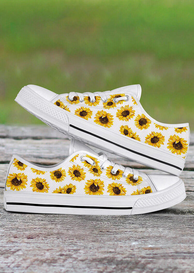 Presale - Sunflower Lace Up Flat Sneakers - White