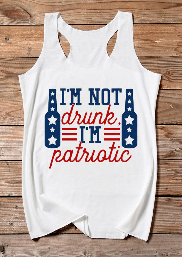 I'm Not Drunk I'm Patriotic Star Casual Tank - White