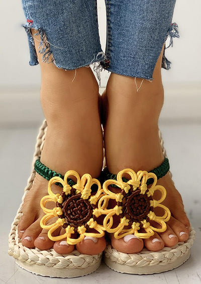 Presale - Summer Sunflower Braided Flip Flop Slippers