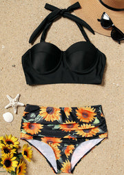 Sunflower High Waist Bikini Set - Black